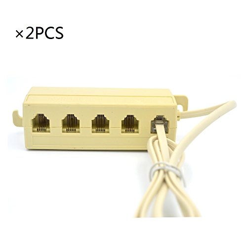 RJ11 6P4C 1 Male to5 Female M/F Telephone Splitter Adapter Cable (Multi Phone Jack)