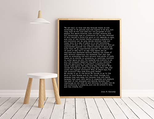 Arvier John F Kennedy Print We Choose to Go to The Moon Inspirational Quote American History Speech Framed Wall Art (We Choose To Go To The Moon Quote)