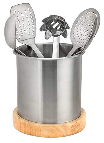 Blissful Home Stainless Steel Kitchen Utensil Holder Caddy - Large enough to hold all your cooking and serving tools - non slip removable base