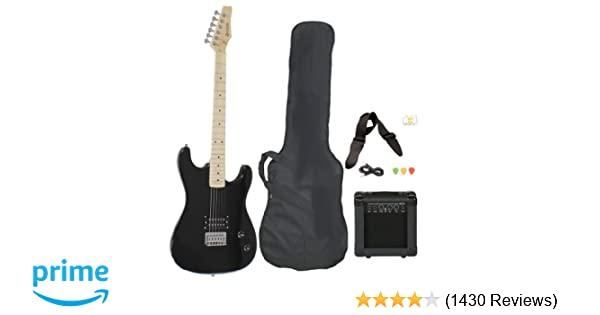 Amazon.com: Full Size Black Electric Guitar with Amp, Case and ...