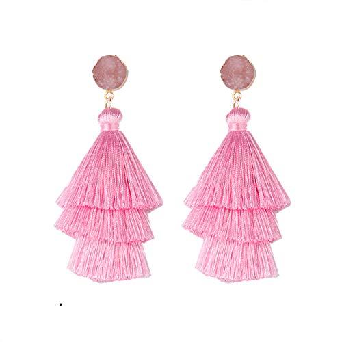 DUSHOULIAN Tassel Earrings,Bohemian Barbie Pink 3 Layered Cotton Tassel Earrings Handmade Tassel Hanging Fashion Jewelry Wide Fringe Drop Dangle Long Earrings for Women Wedding Dangle Earrings