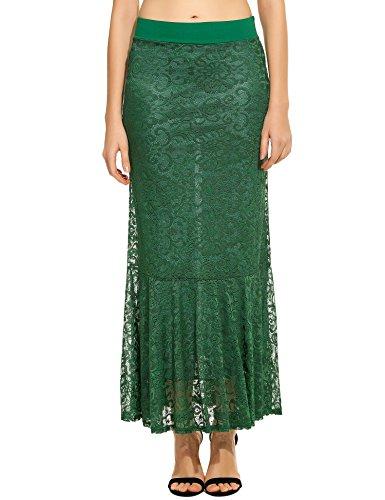 Zeagoo Women`s Elastic Waist Hollow Floral Lace Long Maxi Mermaid Skirt