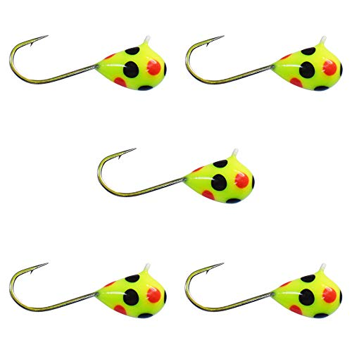 - Kenders Outdoors (5 Pack) Tungsten Jigs Chartreuse Orange Black SPOT Glow (4mm - #10 Hook, Chartreuse Orange Black SPOT Glow)