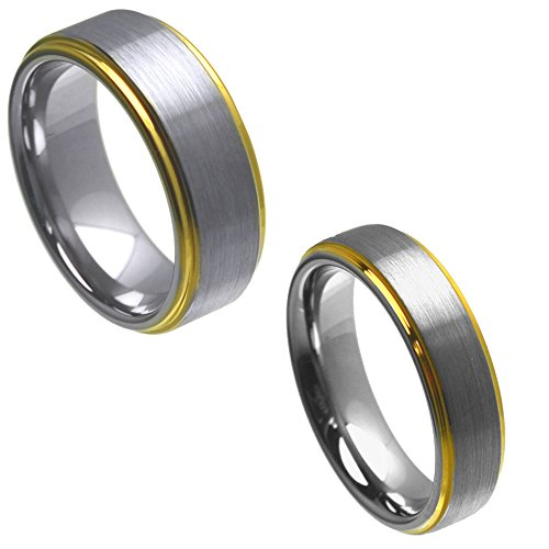 Satin Tungsten Hers (Wedding Band Ring Set For Him & Her - 8MM/6MM Tungsten Carbide Gold Plated Step Edge Brushed Satin Finish)