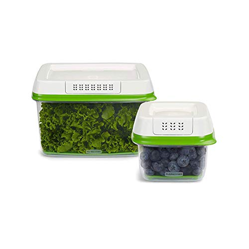 Rubbermaid 2101797 FreshWorks Produce Saver Food Storage Containers Set, 4-Piece, 2.5 Cup and 17.3 Cup
