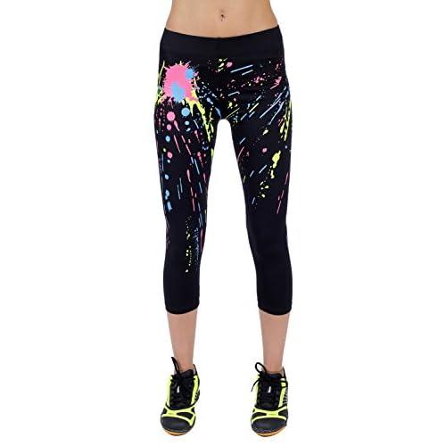 15369 Compliment Figure Sport Gym Yoga Black with White Spray Sealmax Women Tights Leggings 7//8