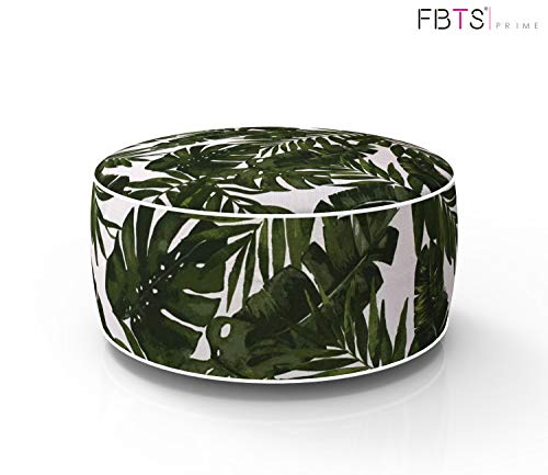 FBTS Prime Outdoor Inflatable Ottoman Deep Green Leaf Round Patio Foot Stools and Ottomans Portable Travel Footstool Used for Outdoor Camping Home Yoga Foot Rest