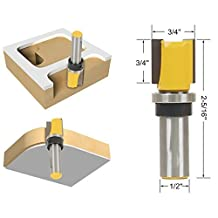 "FORTOMORROW 3/4"" W X 7/16"" H 1/4"" Shank Flush Trim Hinge Mortise Template Router Mills Bit"