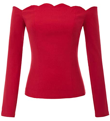 Red Rayon Retro Shirt - Women's 1950s Retro Vintage Off-Shoulder Long Sleeve Fitted Tops T-Shirt Red Size M BP795-2