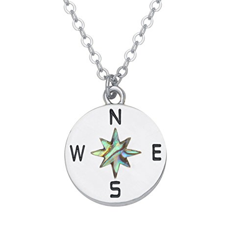 GUANDU Compass Necklace-Direct the Direction of Life, Point To Your Direction (Silver)