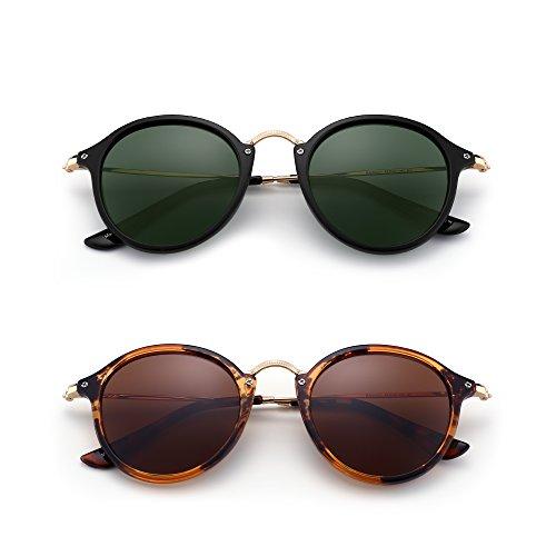 2 Hombre Sol Mujer amp;marrón Circulo Polarizadas Lentes Pequeño Tintado Redondas Espejo de de verde Paquete Retro Gafas UBwxgq4
