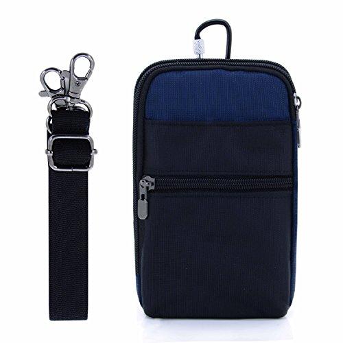 liangdongshop 3 Way Water Resistant Utility Gadget Pouch RFID Blocking Passport Phone Waist Pack with Locking Carabiner(dark blue)