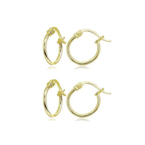 2 Pair Set Gold Flash Sterling Silver Tiny Small 12mm High Polished Round Thin Lightweight Unisex Click-Top Hoop -