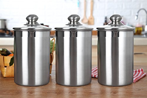Stainless Steel Canister Set With Glass Lids. Air Tight and Elegant. Perfect for Kitchen storage, Tea, Coffee, Sugar, Rice, Beans, pasta - 3 Piece set Large Sized 64oz (1.9L) Each.