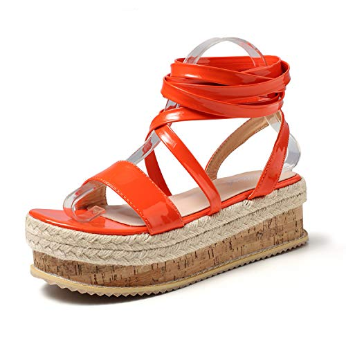 JSUN7 Women's Platform Sandal with Multi Ankle Strap Glossy PU Fashion Party Office Shoes for Women with Hemp Rope Orange (Multi Colored Platform)
