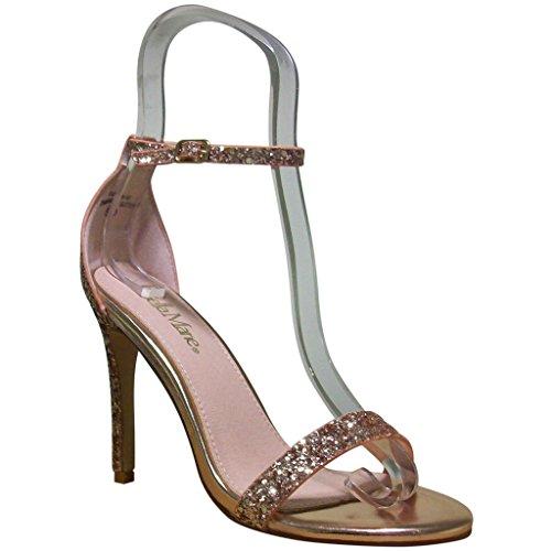 Bella Marie Womens Flora-18 Open Toe Stiletto Sandals Champagne Glitter adadK00NgV