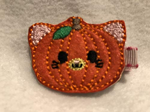 Pumpkin Kitty Hair Clip, Halloween Hair Bow, Felt Hair Clip, Girls Hair Accessory, Partially Lined Alligator Hair Clip, Pumpkin Hair -