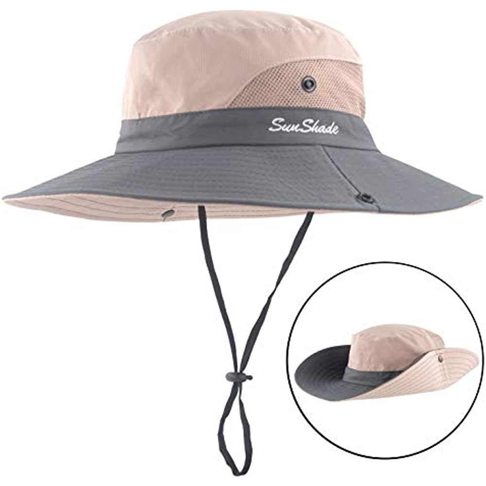IZUS Sun Hat Quick Dry Mesh UV Protection Mesh Fishing Hat Boonie Cap Wide Brim