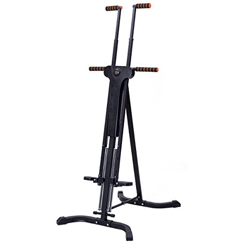 GYMAX Vertical Climbing Machine Foldable Climber Cardio Stepper Home Gym Fat Burning Equipment