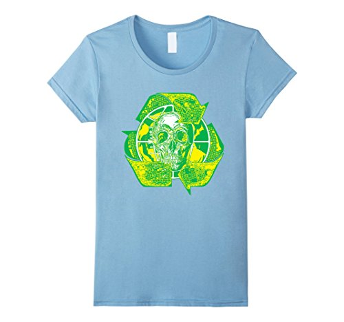 [Women's Earth Day Recycle Skull Symbol T Shirt Medium Baby Blue] (Father And Daughter Halloween Costume Ideas)