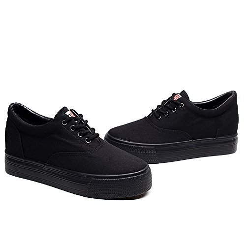 Renben Girls Women Low Wedge Canvas Sneakers Comfot Platform Espadrilles Black XLih5dUMV
