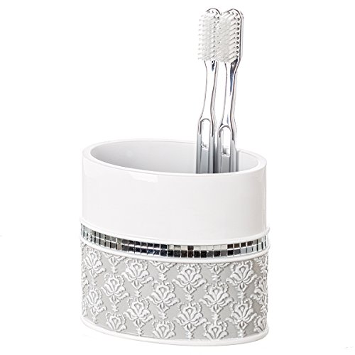 Creative Scents Mirror Damask Bathroom Toothbrush Holder, Family Brush Toothpaste Cup- Holds Multiple Standard/Electric Toothbrushes,(Gray & White)