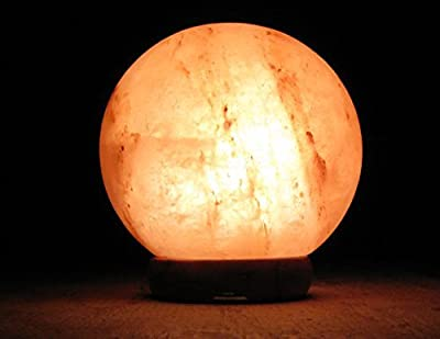 """Himalayan Globe Salt Lamp Natural Crystal Rock ball 6""""-6.5"""" Ionic Air Purifier with Dimmer Switch and Wooden Base"""
