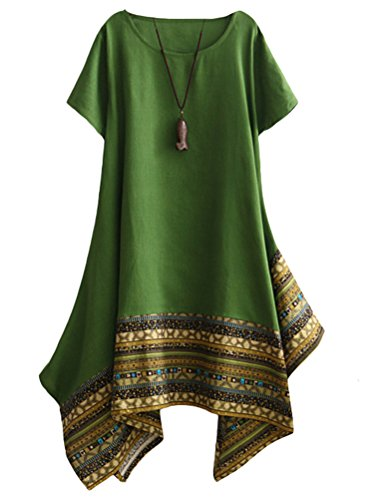 MatchLife - Vestido - vestido - Cuello redondo - Manga corta - para mujer Verde