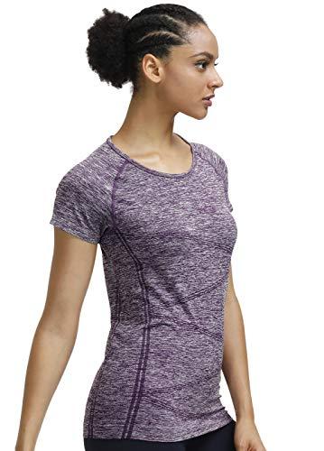 (Raglan Short Sleeves Yoga Shirts Round Neck Running Tees High Performance Sport Workout Tops for Women (Purple, XX-Large))