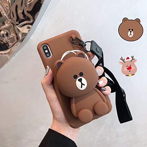Twinlight Cute 3D Cartoon Cony Sally Bear Rabbit Chicken Phone Case for iPhone 7 8 Plus X XS XR XS max Soft Silicone Cover (Brown, for iPhone XR) (I Phone 5c Case Teddy Bear)