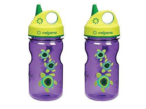 Nalgene Grip N-gulp - Nalgene Grip 'N Gulp Sea Turtles Bottle Purple with Green Cap 12 Ounce Water Bottle. 2 Bottle Pack