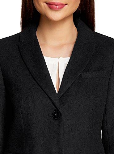 oodji Ultra Mujer Abrigo Clásico de Silueta Recta Negro (2900N)