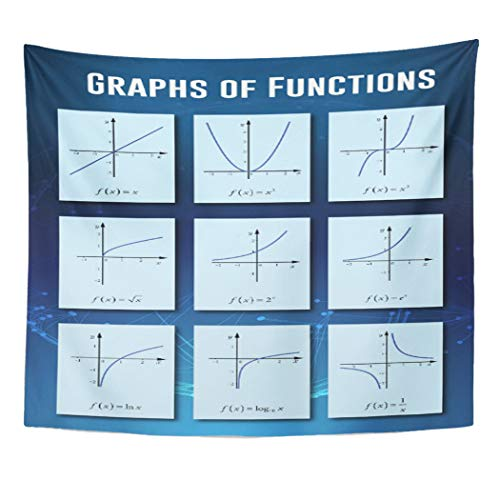 Semtomn Tapestry Artwork Wall Hanging Math Graphs of Functions Mathematics Classroom Geometry 60x80 Inches Home Decor Tapestries Mattress Tablecloth Curtain -