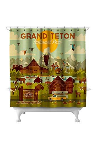 Lantern Press Grand Teton National Park, Wyoming - Geometric 80495 (74x74 Polyester Shower Curtain)