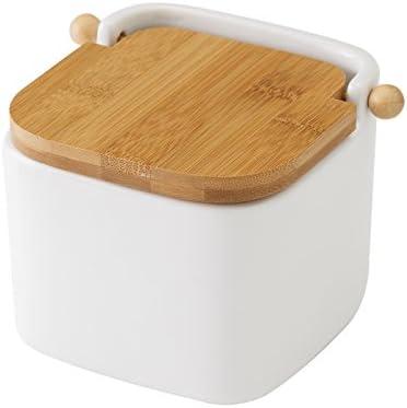 Vily's House Salzbehälter, Keramik, Bambusdeckel, Weiß, 12x12x11