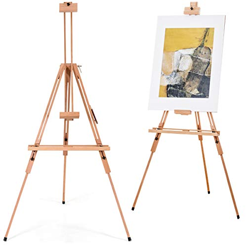 TANGKULA Tripod Easel, Height Adjustable Large Beech Wood Painting Easel 51