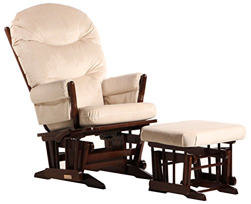 (Dutailier Colonial Glider-Multi-Position Recline and Nursing Ottoman Combo, Coffee/Beige)