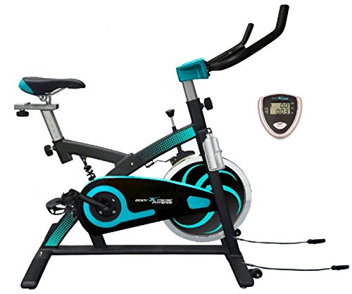 Body Xtreme Fitness Exercise Bike, Home Gym Equipment, Workout at Home, 40lb Flywheel, Resistance Bands, Drink Bottle