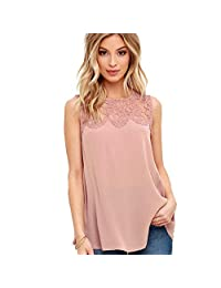 Changshopping Women Fashion Chiffon Lace Sleeveless Shirt Blouse Casual Tank Tops