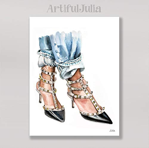 Valentino shoes print of watercolor painting, (NO FRAME), for sale  Delivered anywhere in USA