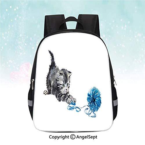 (Kids School Backpack,Playful Baby Kitten with Ball of Yarn Furry Animal Domestic Feline Kids Pets Artwork,13