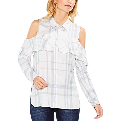Two by Vince Camuto Women's Long Sleeve Cold Shoulder Ruffled Space Dye Plaid Blouse Light Cream X-Large ()