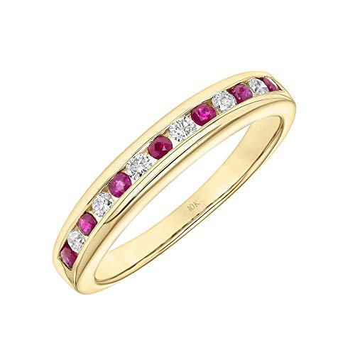 (Brilliant Expressions 10K Yellow Gold Conflict Free Diamond and Ruby Channel Set Anniversary or Wedding Band, Diamond 1/6 Cttw (I-J Color, I2-I3 Clarity); Ruby 1/3 Cttw, Size)