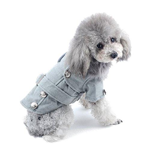 (PEGASUS SELMAI Small Dog Wool Coat Duffle Pet Jacket Winter Dog Apparel for Girl Boy Puppy with Collar Gray S)