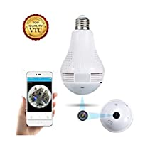 360° Panoramic Fisheye IP Wireless WiFi Security Light Bulb LED Baby &Pet Camera with Motion Detection, Two Way Audio, Night Vision