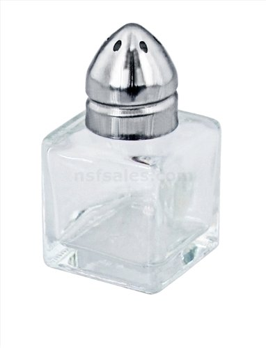 New Star Foodservice 22254 Glass Cube Mini Salt and Pepper Shaker with Stainless Steel Top, 0.5-Ounce, Set of 48 by New Star Foodservice