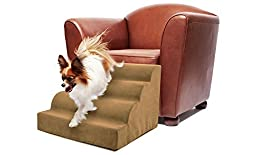 Precious Tails Camel Beige Pet High Density Foam Scalloped Pet Ramp 4-Steps Stairs with Zipper Removable MicroSuede Cover 16\
