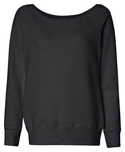 Bella Canvas Women's Sponge Wideneck Fleece Sweatshirt, Black, Medium