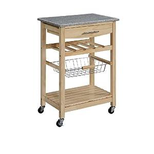 Granite Top Kitchen Cart – Natural Base