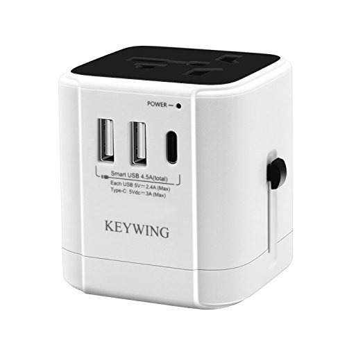 avel Adapter All in One Worldwide AC Power Plug Adapter Wall Charger 2 USB and 1 Type C for UK EU AUS USA JP Cell Phones Laptops Dual Voltage Devices (White and Black) ()